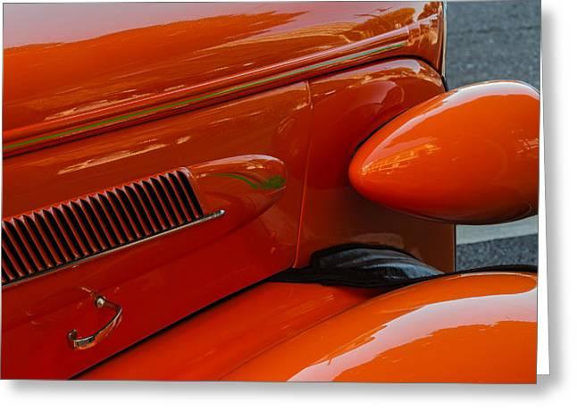 Hot Rod Orange Greeting Card by Ken Stanback