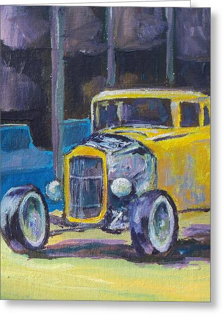 Hot Rod Greeting Card by Sandy Tracey