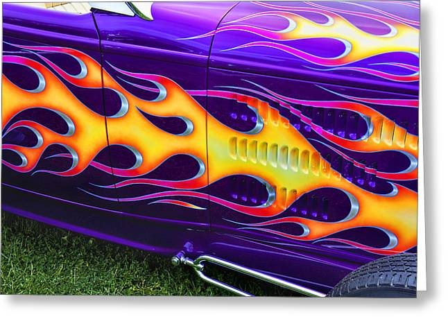 Hot Rod With Custom Flames Greeting Card by Garry Gay