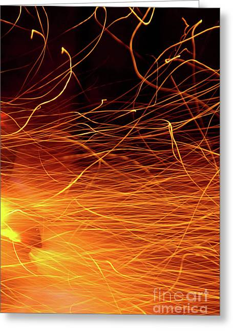 Hot Sparks Greeting Card by Carlos Caetano