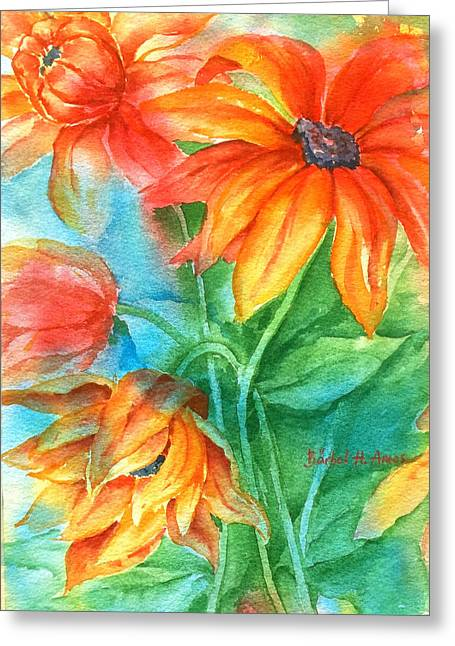 Hot Summer Flowers Greeting Card
