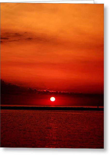 Hot Sunset Greeting Card by Leigh Edwards