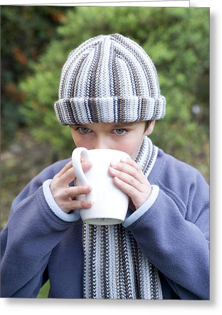 Hot Winter Drink Greeting Card by Ian Boddy