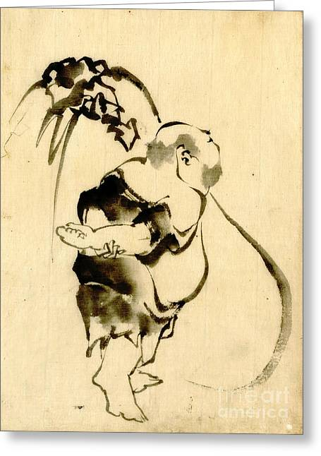 Hotei And Bottomless Bag 1840 Greeting Card by Padre Art