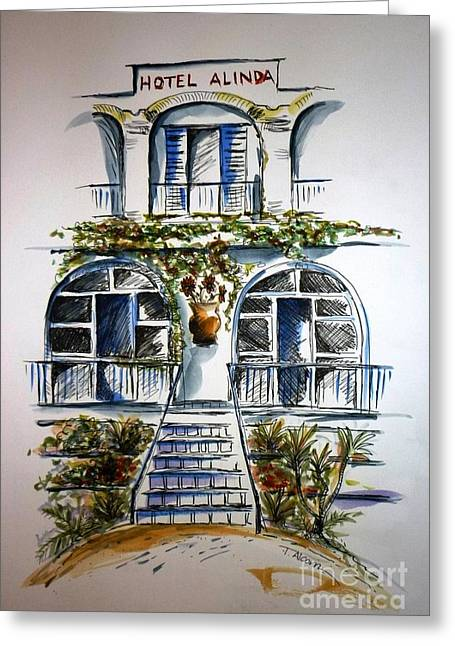 Greeting Card featuring the painting Hotel Alinda - Leros by Therese Alcorn