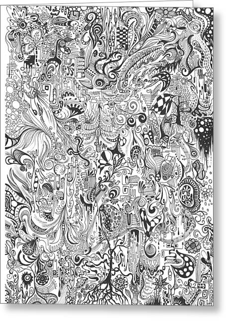 Hours Of Doodling Greeting Card by Carol McLagan