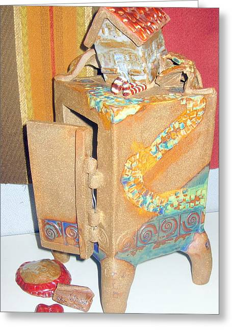 House Fell On My Wicked Witch Treasure Chest Greeting Card by Chere Force