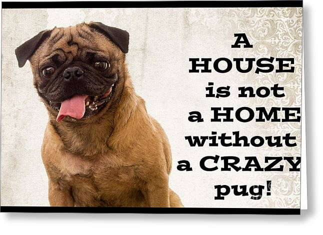House Is Not A Home Without A Crazy Pug Greeting Card