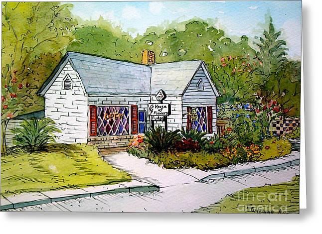 Greeting Card featuring the painting House Of Flowers by Gretchen Allen