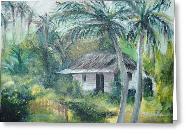 Bamboo House Greeting Cards - House of Palms Greeting Card by Beth Dolan