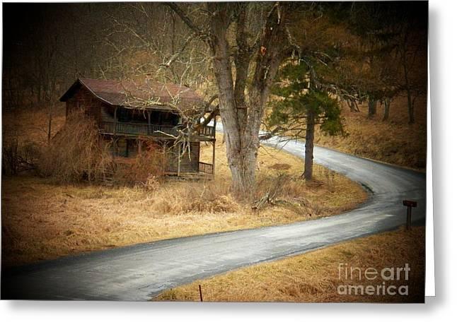 House On A Curve Greeting Card by Joyce Kimble Smith