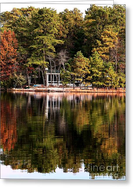 House On The Lake Greeting Card by John Rizzuto