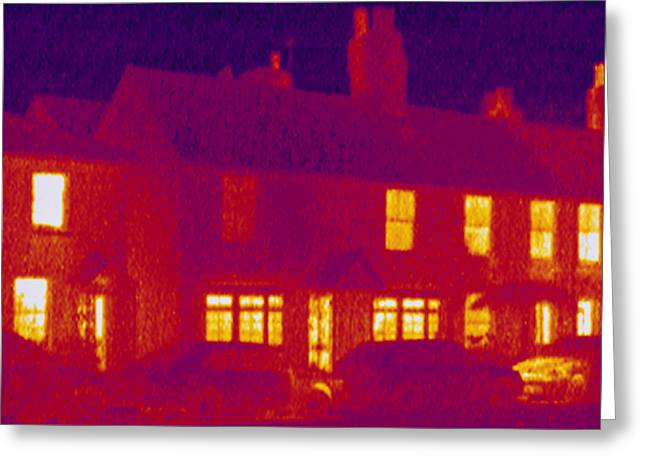 House, Thermogram Greeting Card by Tony Mcconnell