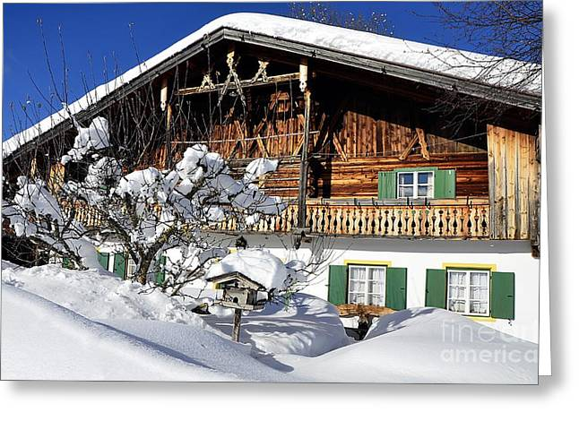 House Under Heavy Snow In Alps Greeting Card