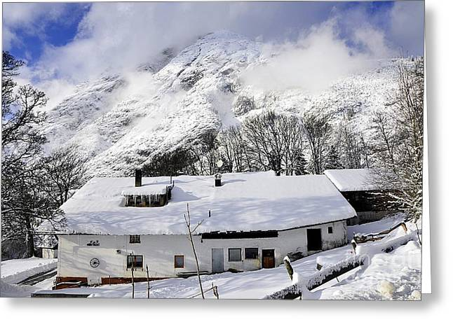 House Under The Alpine Peak Greeting Card