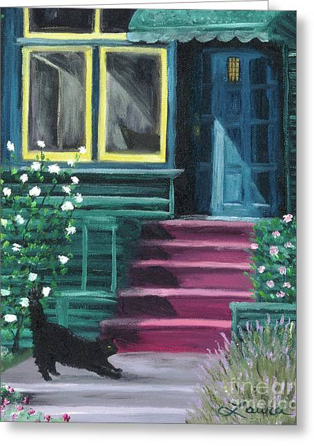House With A Blue Door  Greeting Card by Laura Iverson