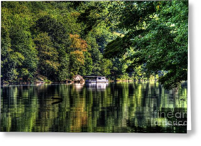 Houseboat On Lake Greeting Card by Dan Friend