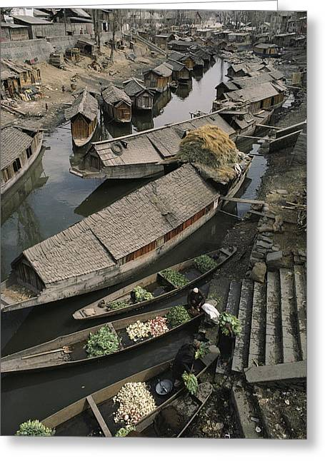 Houseboats Line A Waterway Greeting Card