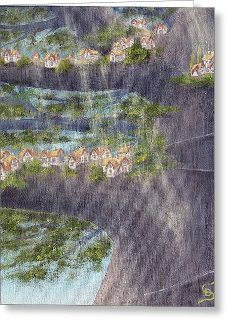 Houses In A Tree From Arboregal Greeting Card by Dumitru Sandru