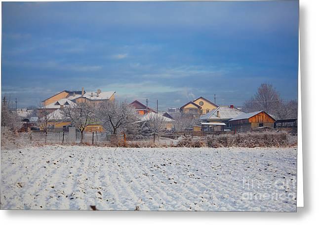 Houses In Winter Greeting Card by Gabriela Insuratelu