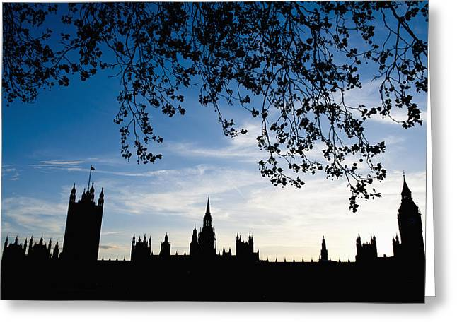 Houses Of Parliament Silhouette Greeting Card by Axiom Photographic