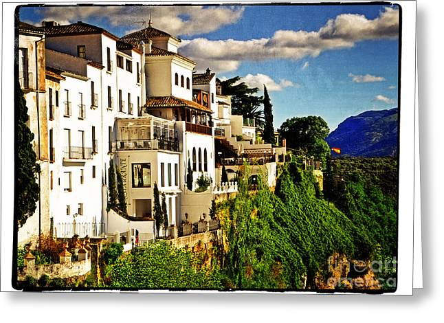 Houses On The Cliff In Ronda Spain Greeting Card
