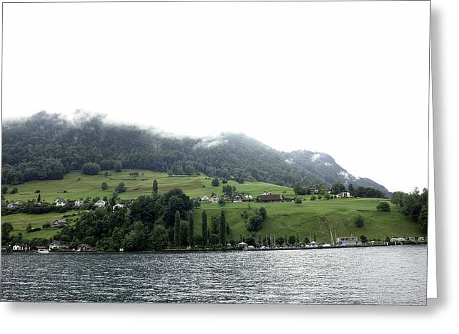Houses On The Greenery Of The Slope Of A Mountain Next To Lake Lucerne Greeting Card by Ashish Agarwal