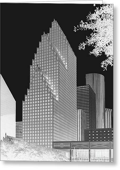 Greeting Card featuring the photograph Houston Skyline - Kodak Film Bw Solarized by Connie Fox