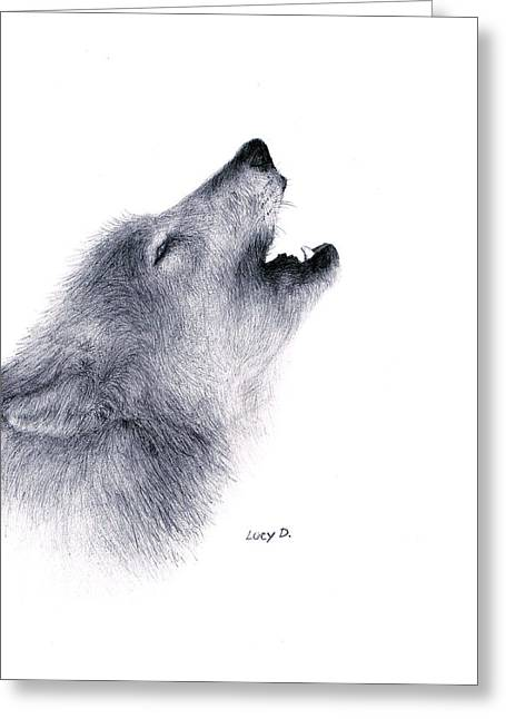 Greeting Card featuring the drawing Howl by Lucy D