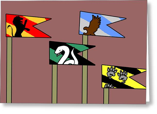 Hp House Flags Greeting Card by Jera Sky