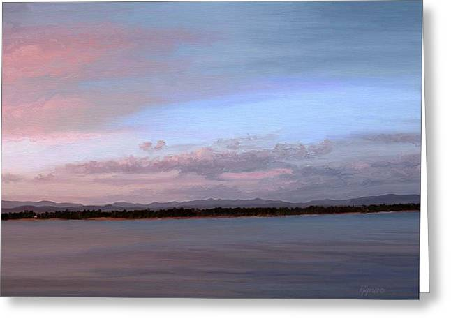 Huckleberry Sunset Greeting Card by Kelley Gruver