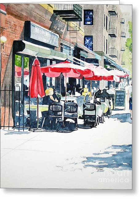 Greeting Card featuring the painting Hudson Diner by Tom Riggs