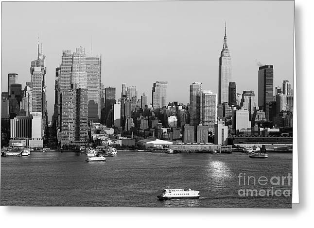 Hudson River And Manhattan Skyline II Greeting Card by Clarence Holmes