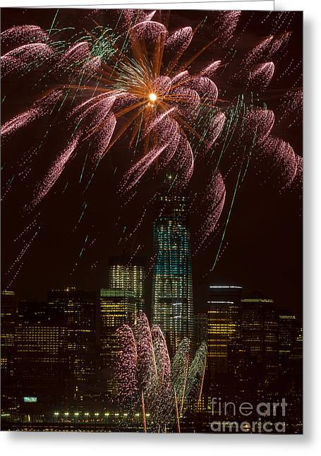 Hudson River Fireworks X Greeting Card by Clarence Holmes