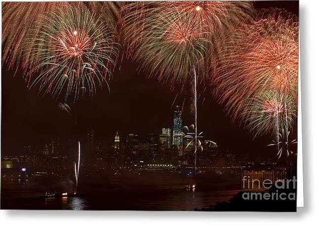 Hudson River Fireworks Xii Greeting Card by Clarence Holmes
