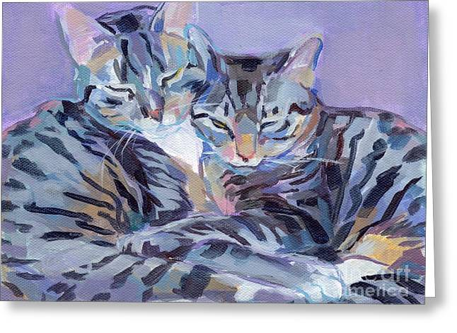 Hugs Purrs And Stripes Greeting Card by Kimberly Santini