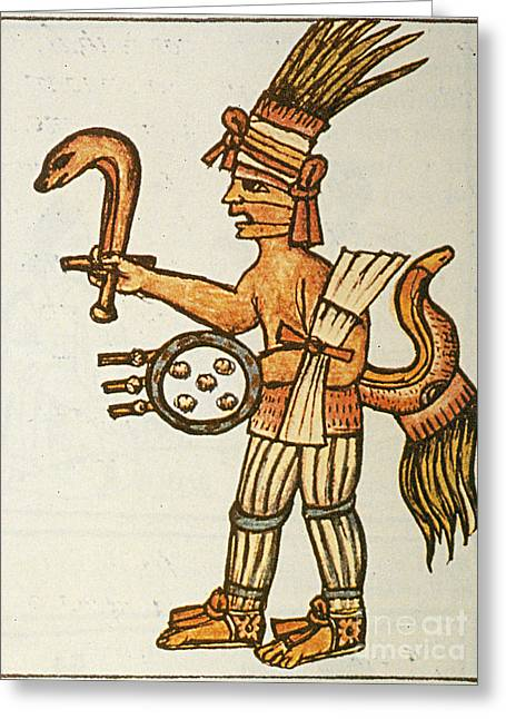Huitzilopochtli, Aztec God Of War, 16th Greeting Card by Photo Researchers