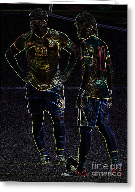 Hulk And Neymar Neon II Greeting Card by Lee Dos Santos