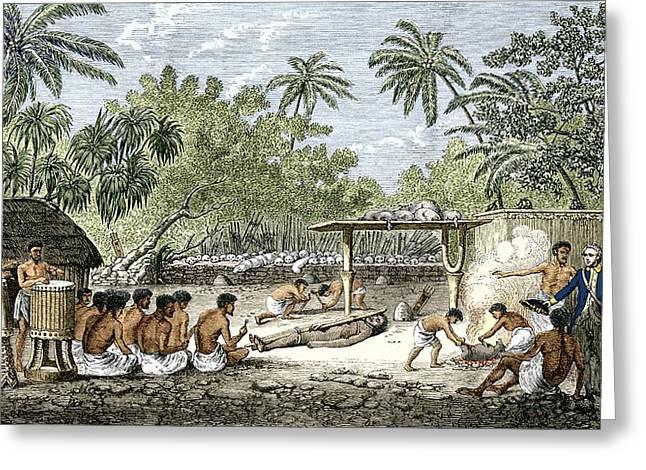 Human Sacrifice In Tahiti, Artwork Greeting Card by Sheila Terry