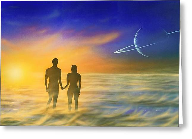 Humanity And The Universe, Artwork Greeting Card by Richard Bizley