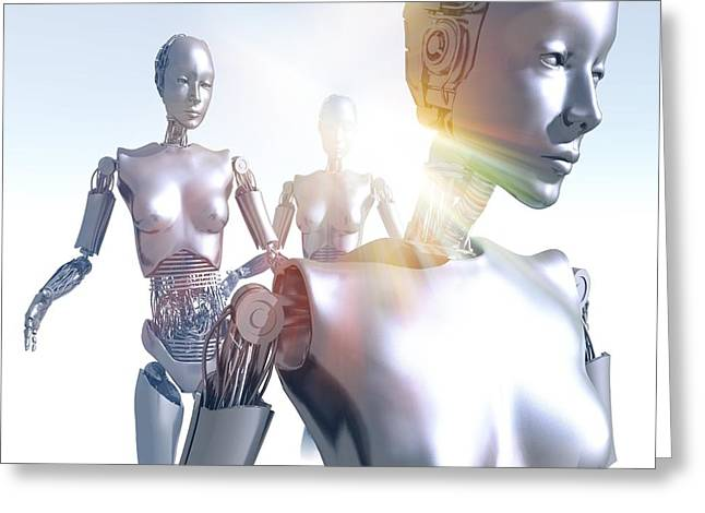 Humanoid Robots, Artwork Greeting Card by Victor Habbick Visions
