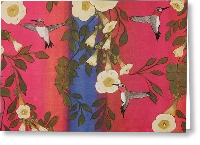 Greeting Card featuring the painting Hummingbird Picnic by Cindy Micklos