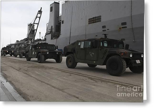 Humvees Depart Uss Harpers Ferry Greeting Card by Stocktrek Images