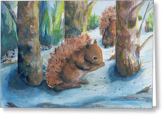 Hungry Red Squirrels Greeting Card by Barbara McGeachen
