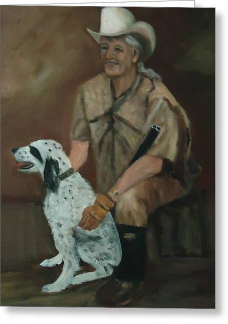 Hunting Dog And Master Greeting Card by Betty Pimm