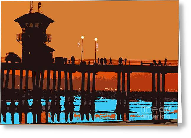 Greeting Card featuring the photograph Huntington Pier Abstract by Everette McMahan jr