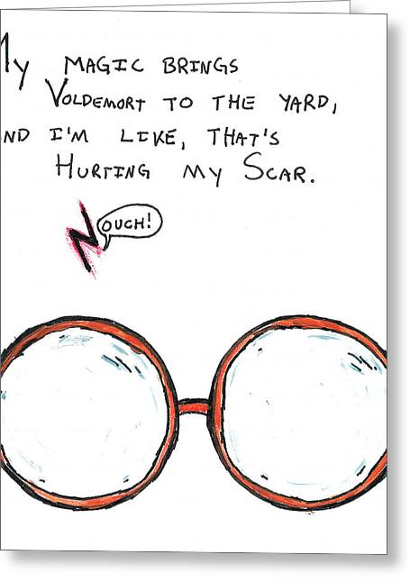 Hurting My Scar Greeting Card by Jera Sky