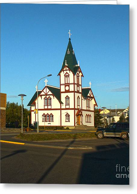 Husavik Iceland Church Greeting Card by Gregory Dyer