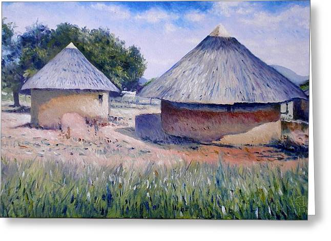 Huts At Pelegano Botswana 2008 Greeting Card by Enver Larney
