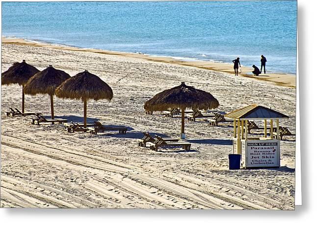 Huts On The Beach Greeting Card by Susan Leggett